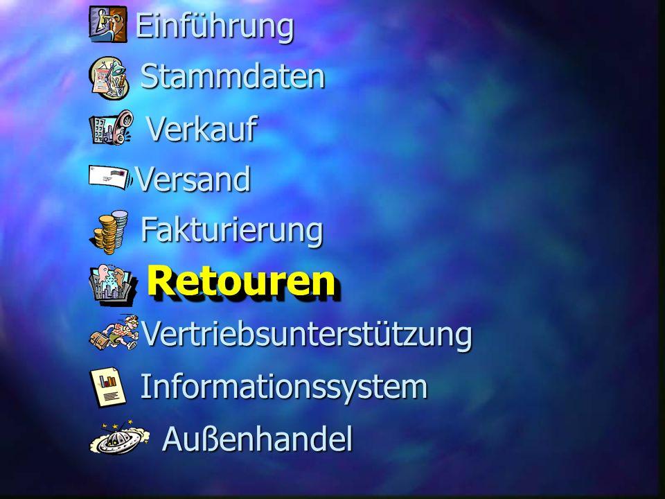 Fakturierung Versand RetourenRetouren Stammdaten Verkauf Informationssystem Vertriebsunterstützung Außenhandel Einführung