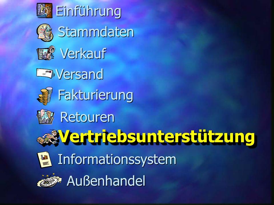 Fakturierung Versand Retouren Stammdaten Verkauf Informationssystem VertriebsunterstützungVertriebsunterstützung Außenhandel Einführung