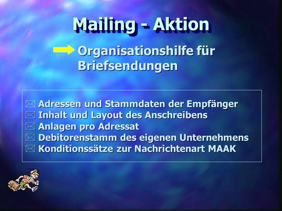 Mailing - Aktion Organisationshilfe für Briefsendungen Adressen und Stammdaten der Empfänger Inhalt und Layout des Anschreibens Inhalt und Layout des