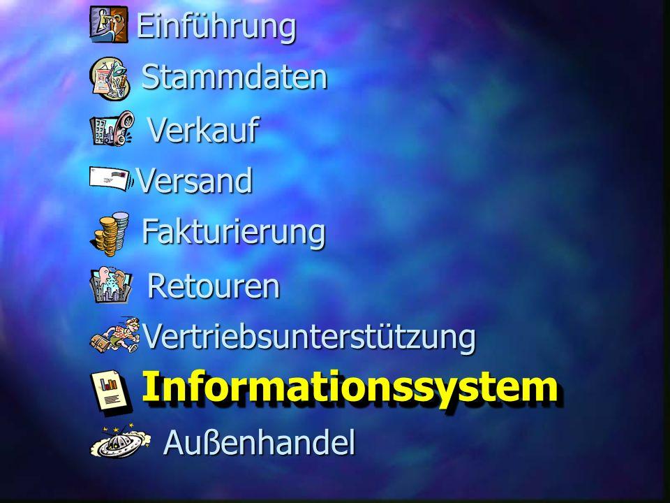 Fakturierung Versand Retouren Stammdaten Verkauf InformationssystemInformationssystem Vertriebsunterstützung Außenhandel Einführung
