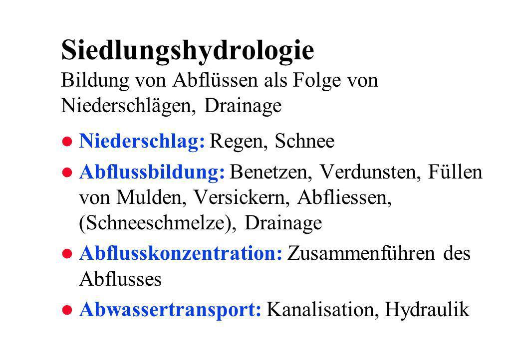 Siedlungshydrologie Bildung von Abflüssen als Folge von Niederschlägen, Drainage l Niederschlag: Regen, Schnee l Abflussbildung: Benetzen, Verdunsten,