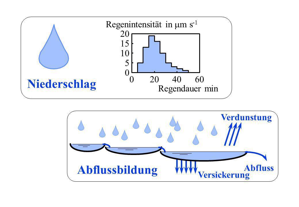 0 5 10 15 20 Regendauer min Regenintensität in m s -1 Niederschlag Abflussbildung Verdunstung Versickerung Abfluss 0204060