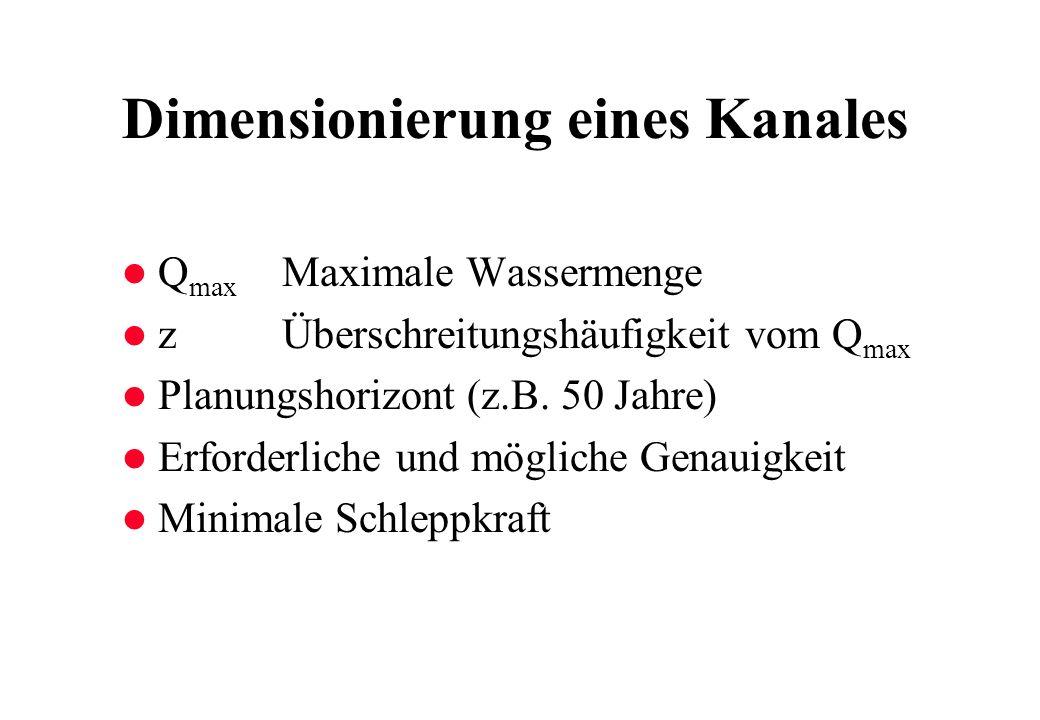 Dimensionierung eines Kanales l Q max Maximale Wassermenge l zÜberschreitungshäufigkeit vom Q max l Planungshorizont (z.B. 50 Jahre) l Erforderliche u