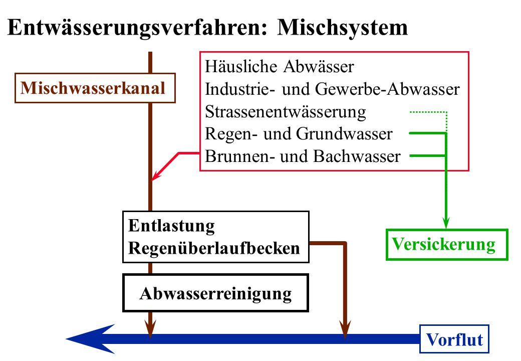 Mischwasserkanal Häusliche Abwässer Industrie- und Gewerbe-Abwasser Strassenentwässerung Regen- und Grundwasser Brunnen- und Bachwasser Entlastung Reg
