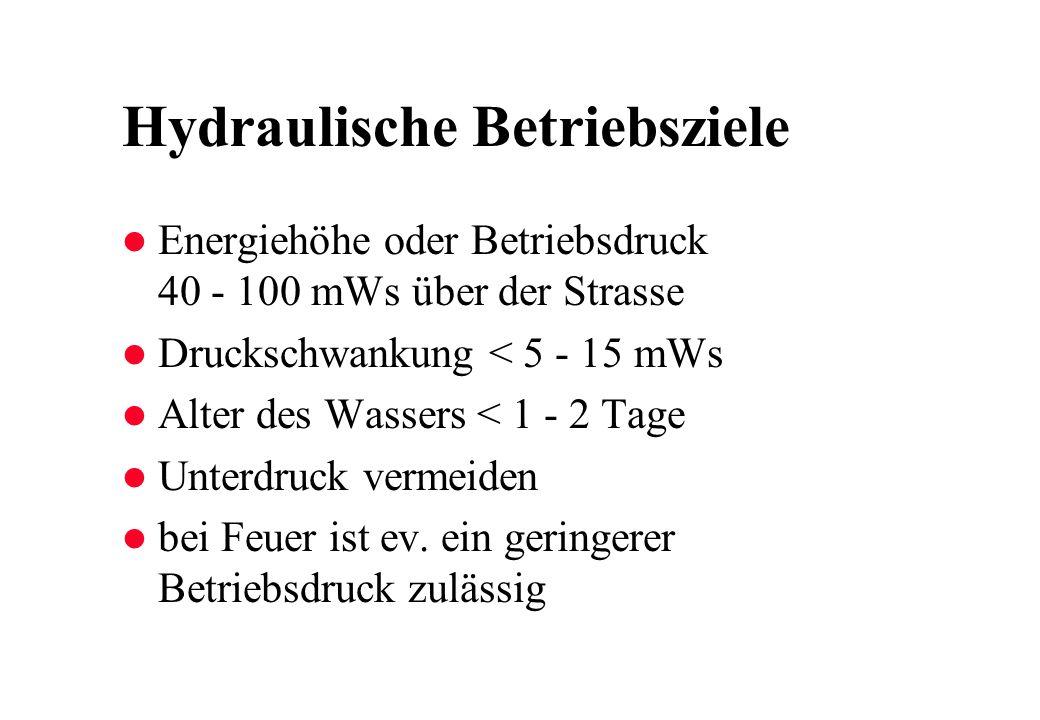 Hydraulische Betriebsziele l Energiehöhe oder Betriebsdruck 40 - 100 mWs über der Strasse l Druckschwankung < 5 - 15 mWs l Alter des Wassers < 1 - 2 Tage l Unterdruck vermeiden l bei Feuer ist ev.