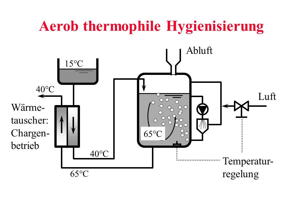 15°C 40°C 65°C 40°C 65°C Aerob thermophile Hygienisierung Temperatur- regelung Wärme- tauscher: Chargen- betrieb Luft Abluft