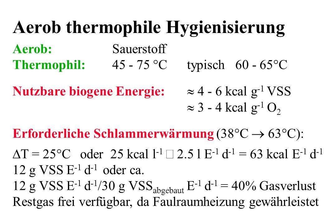 Aerob thermophile Hygienisierung Aerob:Sauerstoff Thermophil:45 - 75 °Ctypisch 60 - 65°C Nutzbare biogene Energie: 4 - 6 kcal g -1 VSS 3 - 4 kcal g -1