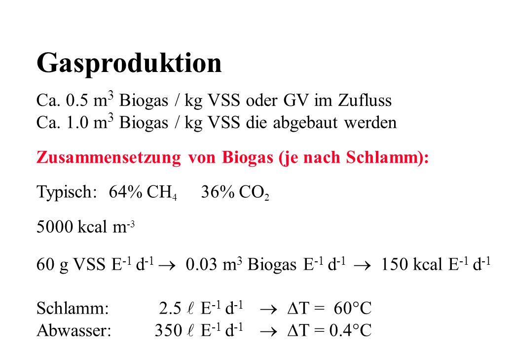 Gasproduktion Ca. 0.5 m 3 Biogas / kg VSS oder GV im Zufluss Ca. 1.0 m 3 Biogas / kg VSS die abgebaut werden Zusammensetzung von Biogas (je nach Schla