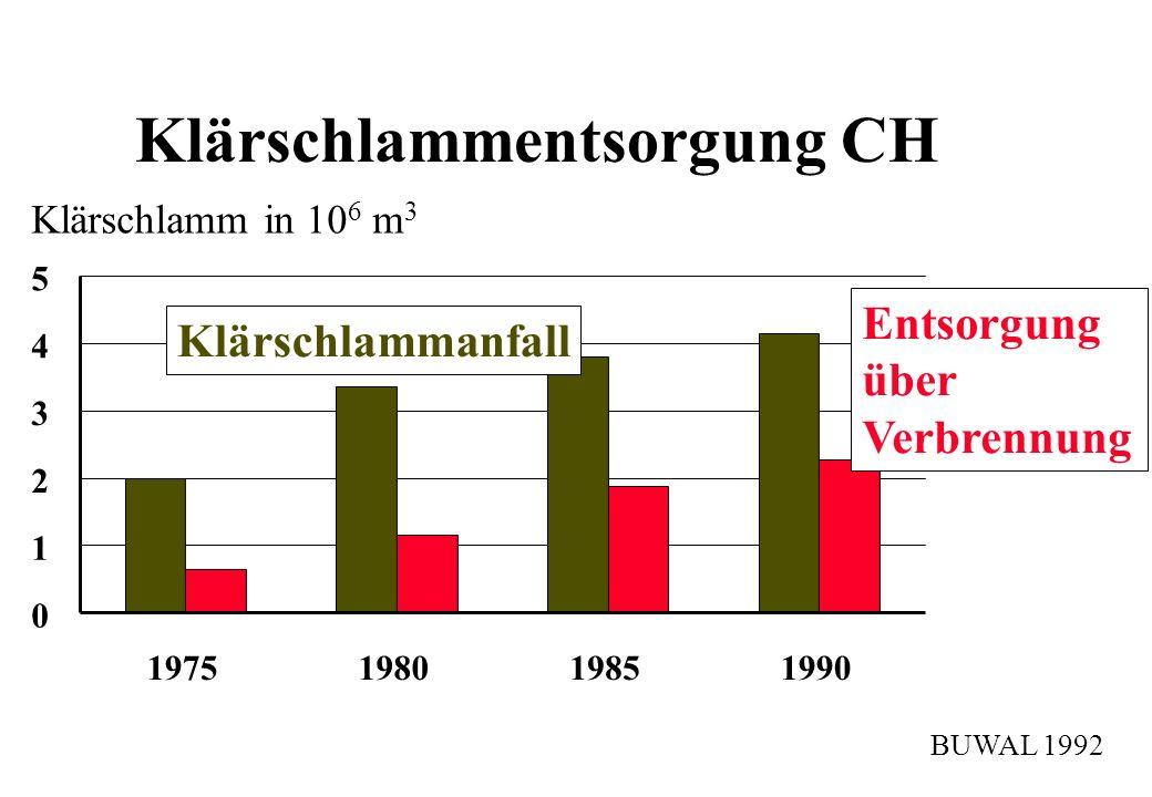 Klärschlammentsorgung CH Klärschlamm in 10 6 m 3 0 1 2 3 4 5 1975198019851990 Klärschlammanfall Entsorgung über Verbrennung BUWAL 1992