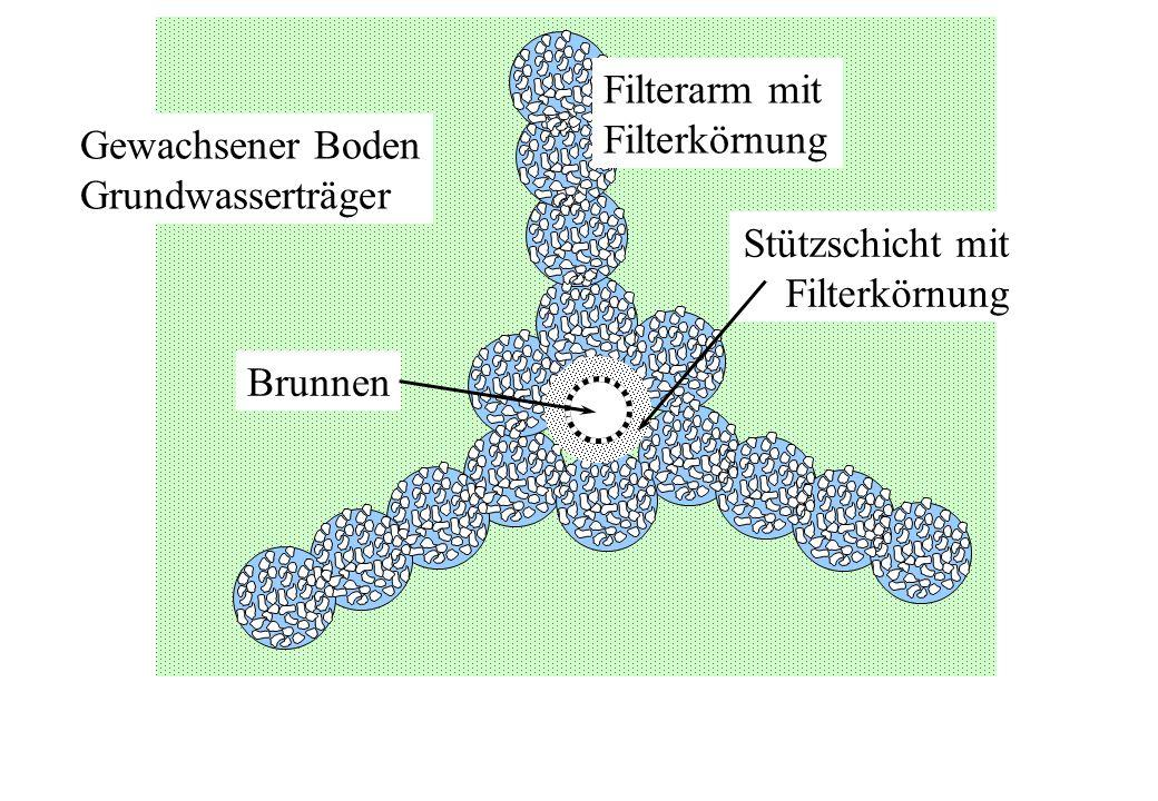 Gewachsener Boden Grundwasserträger Filterarm mit Filterkörnung Stützschicht mit Filterkörnung Brunnen