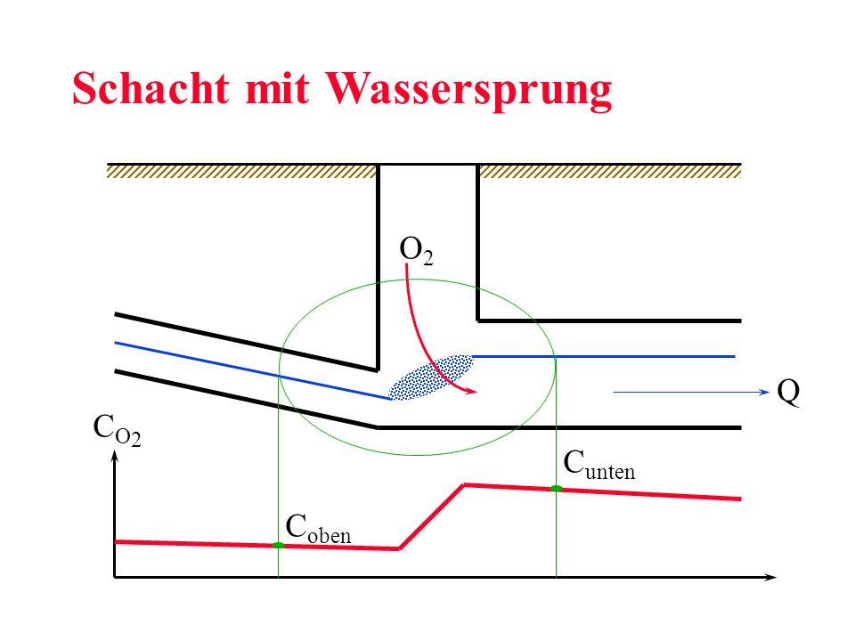 O2O2 Schacht mit Wassersprung CO2CO2 C oben C unten Q