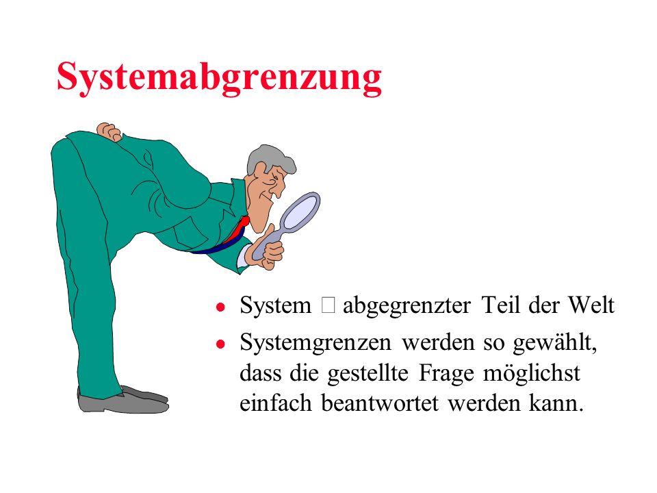 Systemabgrenzung System abgegrenzter Teil der Welt l Systemgrenzen werden so gewählt, dass die gestellte Frage möglichst einfach beantwortet werden ka