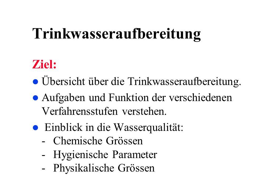 Trinkwasseraufbereitung Ziel: l Übersicht über die Trinkwasseraufbereitung. l Aufgaben und Funktion der verschiedenen Verfahrensstufen verstehen. l Ei