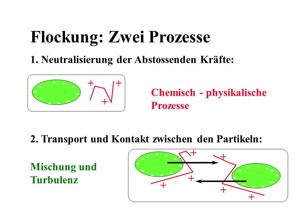 Flockung: Zwei Prozesse 1. Neutralisierung der Abstossenden Kräfte: 2. Transport und Kontakt zwischen den Partikeln: - - -- - - - - - - - + ++ - - --