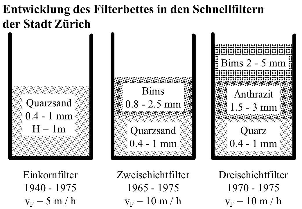 Entwicklung des Filterbettes in den Schnellfiltern der Stadt Zürich Quarzsand 0.4 - 1 mm H = 1m Quarzsand 0.4 - 1 mm Bims 0.8 - 2.5 mm Anthrazit 1.5 -