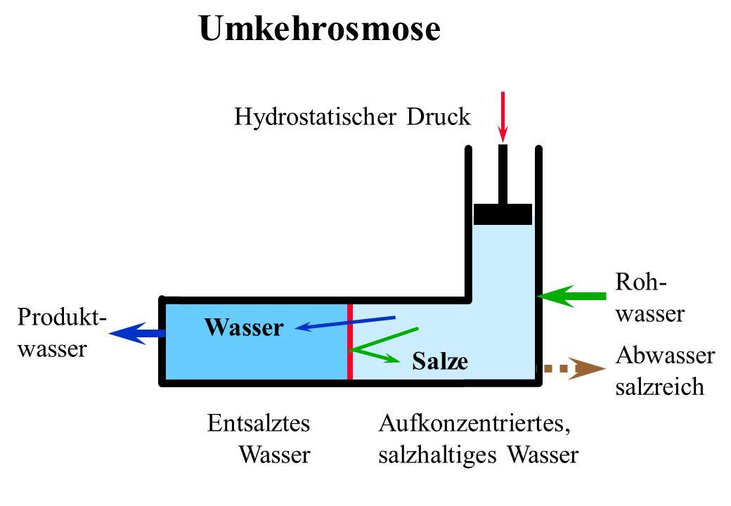 Umkehrosmose Hydrostatischer Druck Produkt- wasser Aufkonzentriertes, salzhaltiges Wasser Entsalztes Wasser Salze Wasser Roh- wasser Abwasser salzreic