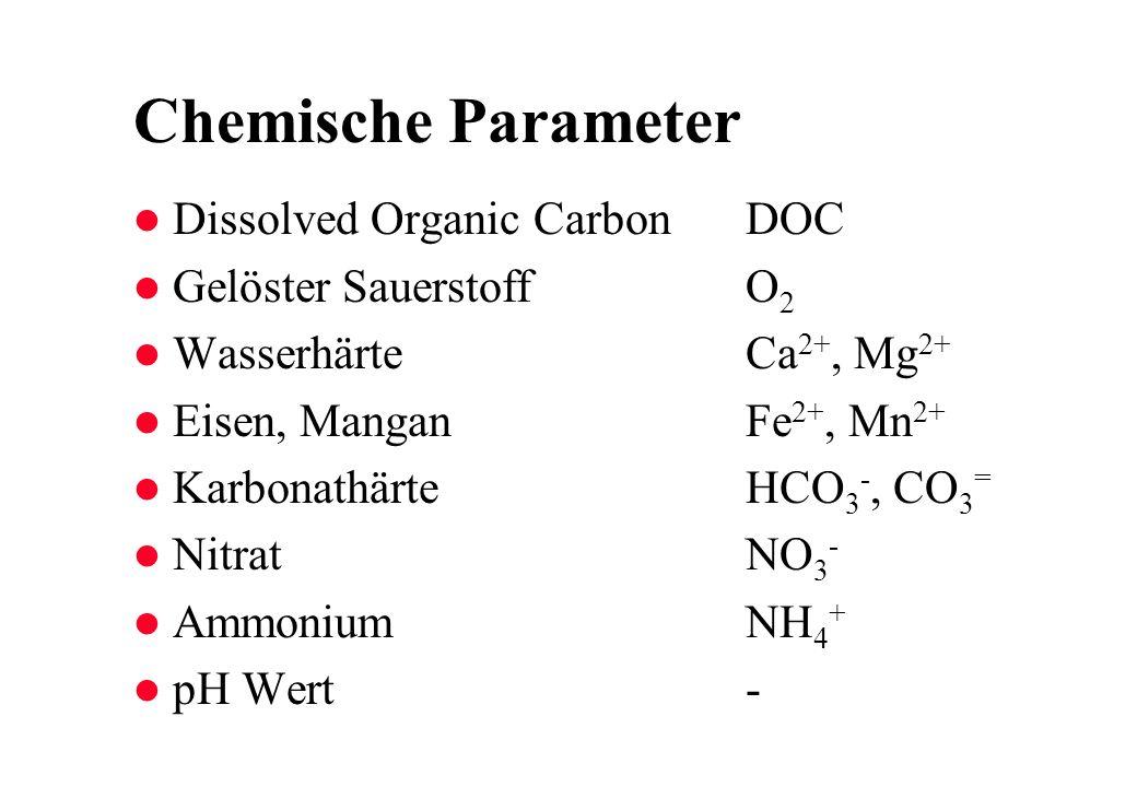 Chemische Parameter l Dissolved Organic CarbonDOC l Gelöster SauerstoffO 2 l WasserhärteCa 2+, Mg 2+ l Eisen, ManganFe 2+, Mn 2+ l KarbonathärteHCO 3