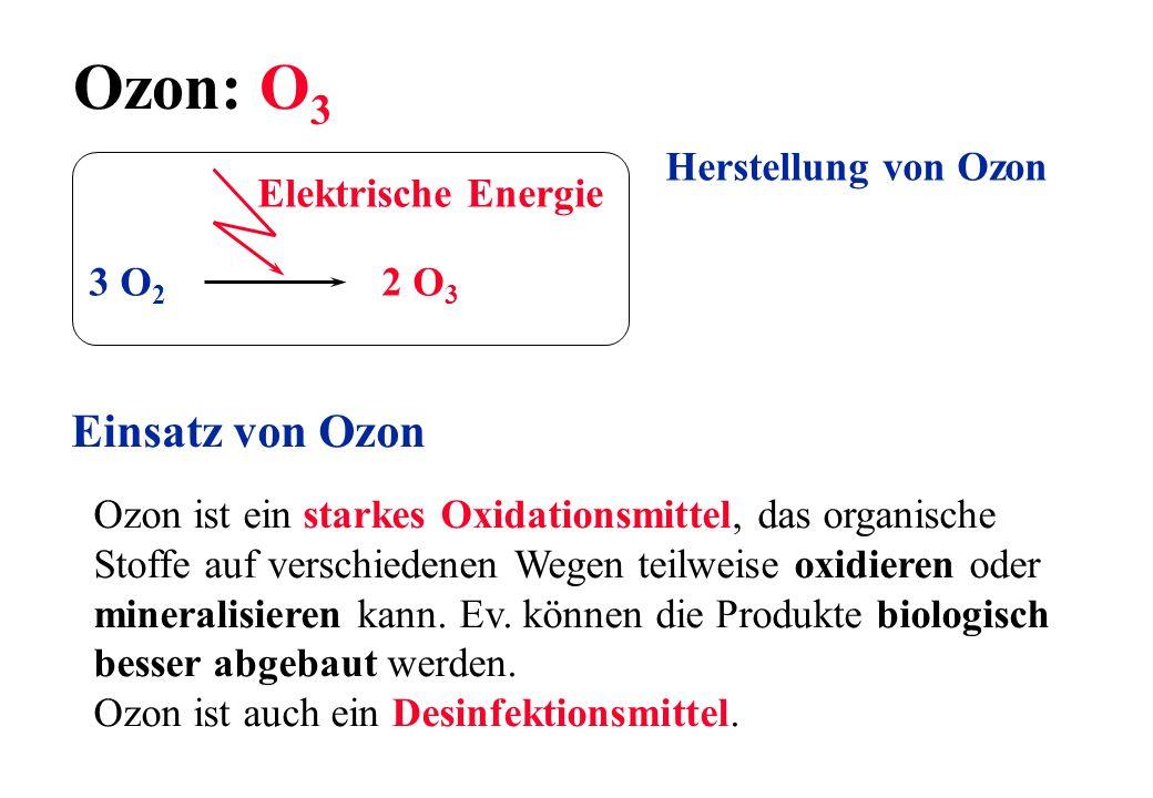 Ozon: O 3 Herstellung von Ozon 3 O 2 2 O 3 Elektrische Energie Einsatz von Ozon Ozon ist ein starkes Oxidationsmittel, das organische Stoffe auf versc