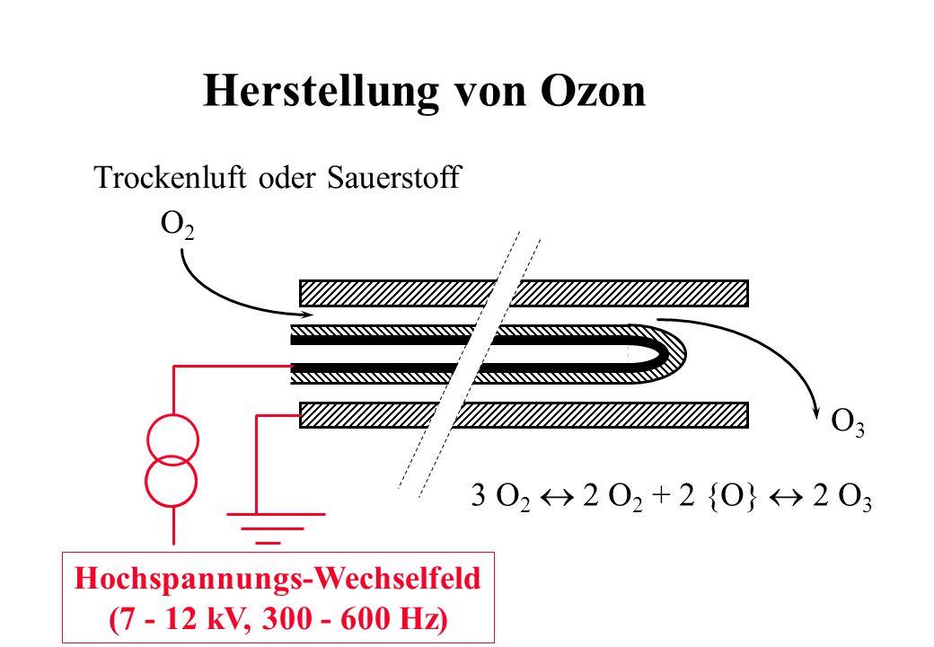 O2O2 O3O3 3 O 2 2 O 2 + 2 {O} 2 O 3 Hochspannungs-Wechselfeld (7 - 12 kV, 300 - 600 Hz) Trockenluft oder Sauerstoff Herstellung von Ozon