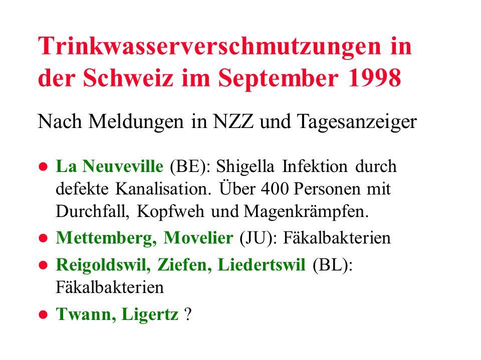 Trinkwasserverschmutzungen in der Schweiz im September 1998 l La Neuveville (BE): Shigella Infektion durch defekte Kanalisation. Über 400 Personen mit
