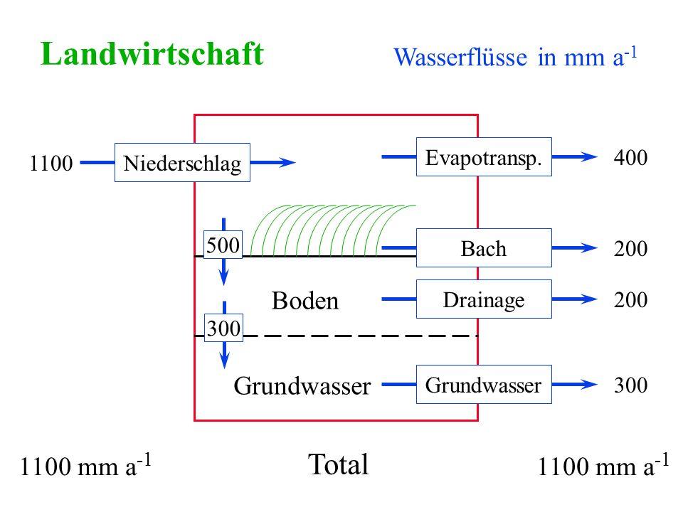 Wasserflüsse in mm a -1 Landwirtschaft Niederschlag1100 Grundwasser300 Drainage200 Bach200 Evapotransp.400 Boden Grundwasser Total 1100 mm a -1 300500