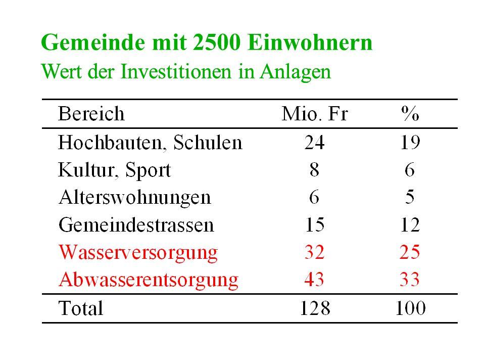 Wert der Investitionen in Anlagen Gemeinde mit 2500 Einwohnern Wert der Investitionen in Anlagen