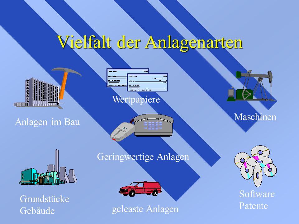 Vielfalt der Anlagenarten Anlagen im Bau Wertpapiere Maschinen Software Patente geleaste Anlagen Grundstücke Gebäude Geringwertige Anlagen