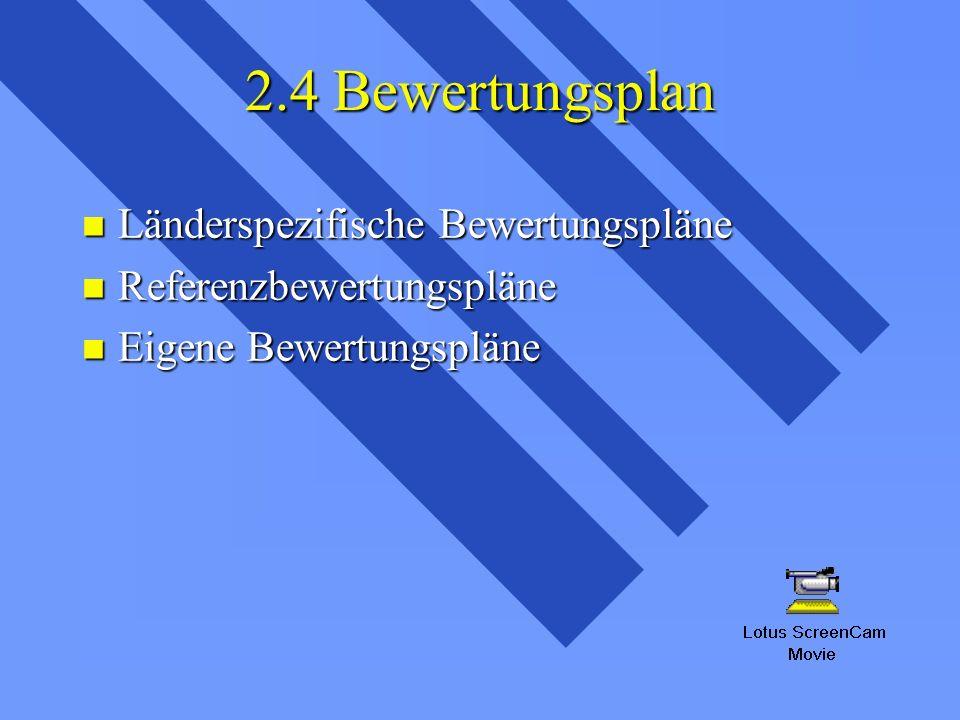 2.4 Bewertungsplan Länderspezifische Bewertungspläne Länderspezifische Bewertungspläne Referenzbewertungspläne Referenzbewertungspläne Eigene Bewertungspläne Eigene Bewertungspläne