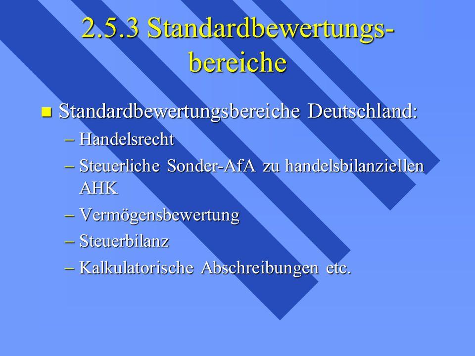 2.5.3 Standardbewertungs- bereiche Standardbewertungsbereiche Deutschland: Standardbewertungsbereiche Deutschland: Handelsrecht Handelsrecht Steuerliche Sonder-AfA zu handelsbilanziellen AHK Steuerliche Sonder-AfA zu handelsbilanziellen AHK Vermögensbewertung Vermögensbewertung Steuerbilanz Steuerbilanz Kalkulatorische Abschreibungen etc.