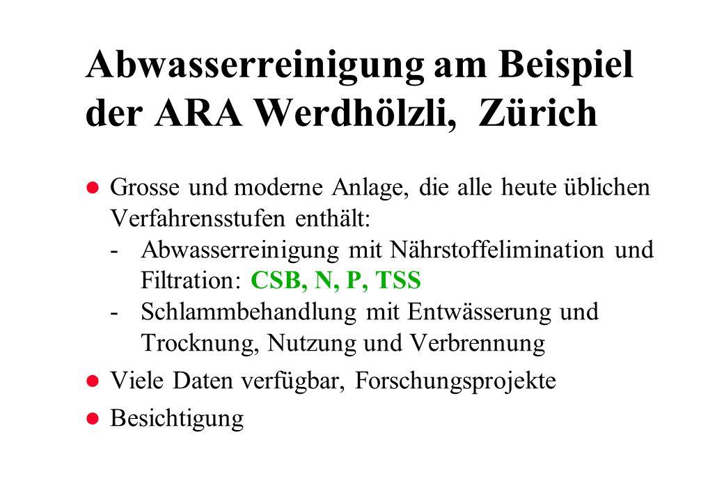 Abwasserreinigung am Beispiel der ARA Werdhölzli, Zürich l Grosse und moderne Anlage, die alle heute üblichen Verfahrensstufen enthält: -Abwasserreini