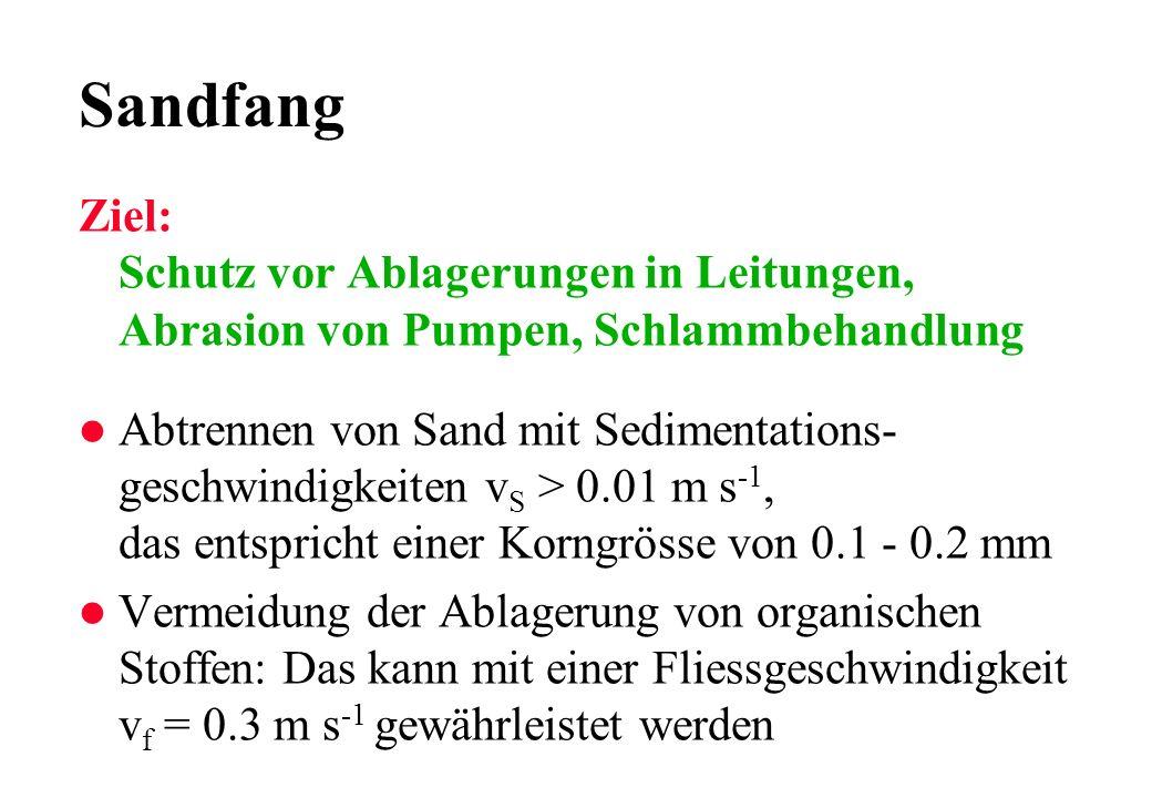 Sandfang Ziel: Schutz vor Ablagerungen in Leitungen, Abrasion von Pumpen, Schlammbehandlung l Abtrennen von Sand mit Sedimentations- geschwindigkeiten