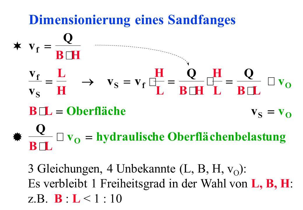 Dimensionierung eines Sandfanges v Q BH f H L Q BH H L Q BL v f v v L H f S v S BLOberfläche Q BL v O hydraulische Oberflächenbelastung vv SO 3 Gleich