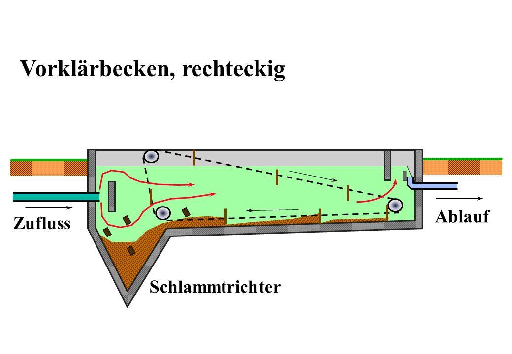 Vorklärbecken, rechteckig Zufluss Ablauf Schlammtrichter