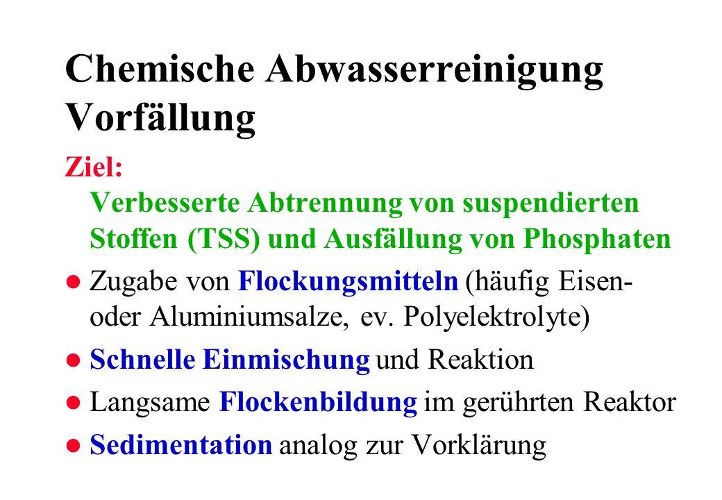 Chemische Abwasserreinigung Vorfällung Ziel: Verbesserte Abtrennung von suspendierten Stoffen (TSS) und Ausfällung von Phosphaten l Zugabe von Flockun