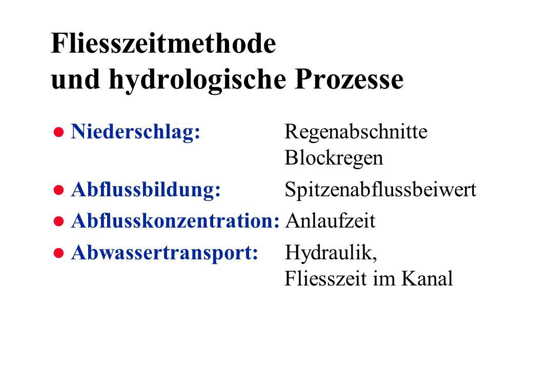 Fliesszeitmethode und hydrologische Prozesse l Niederschlag: Regenabschnitte Blockregen l Abflussbildung: Spitzenabflussbeiwert l Abflusskonzentration