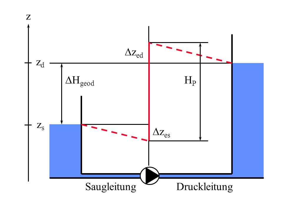 SaugleitungDruckleitung z es z ed H geod HPHP z zszs zdzd