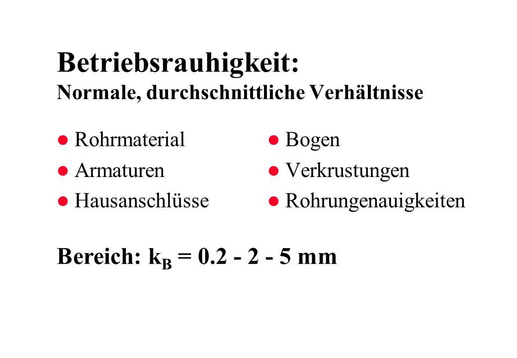 Betriebsrauhigkeit: Normale, durchschnittliche Verhältnisse Bereich: k B = 0.2 - 2 - 5 mm l Bogen l Verkrustungen l Rohrungenauigkeiten l Rohrmaterial