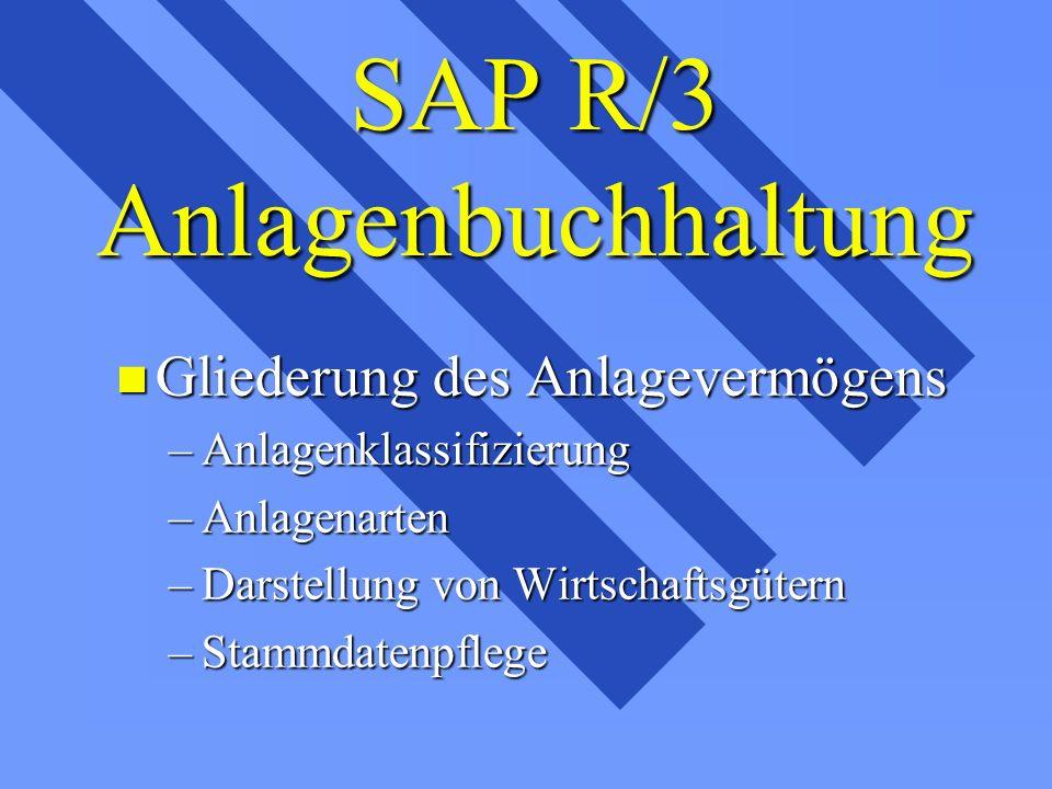 SAP R/3 Anlagenbuchhaltung n Gliederung des Anlagevermögens –Anlagenklassifizierung –Anlagenarten –Darstellung von Wirtschaftsgütern –Stammdatenpflege