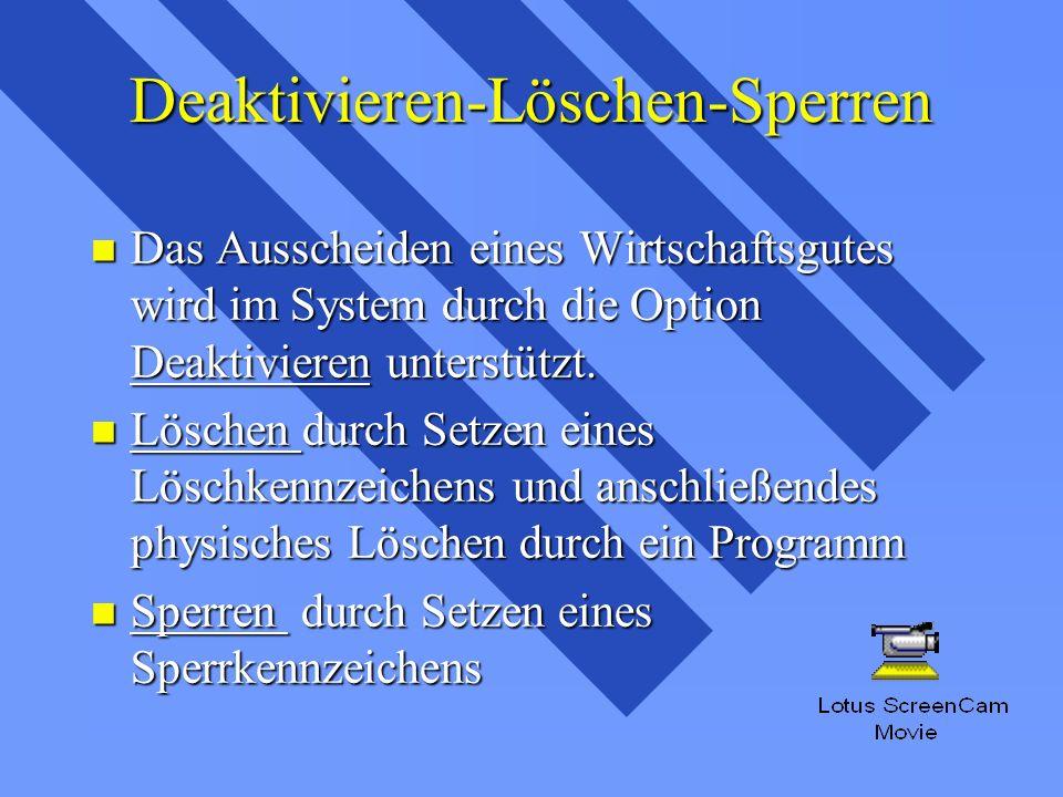 Deaktivieren-Löschen-Sperren n Das Ausscheiden eines Wirtschaftsgutes wird im System durch die Option Deaktivieren unterstützt.