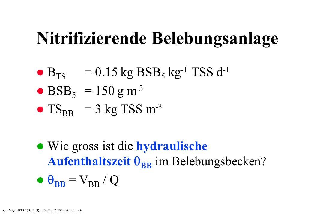 Nitrifizierende Belebungsanlage l B TS = 0.15 kg BSB 5 kg -1 TSS d -1 l BSB 5 = 150 g m -3 l TS BB = 3 kg TSS m -3 Wie gross ist die hydraulische Aufe