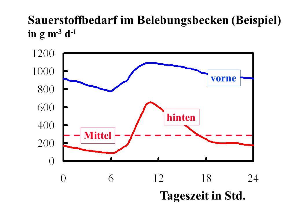 Sauerstoffbedarf im Belebungsbecken (Beispiel) in g m -3 d -1 Tageszeit in Std. hinten Mittel vorne