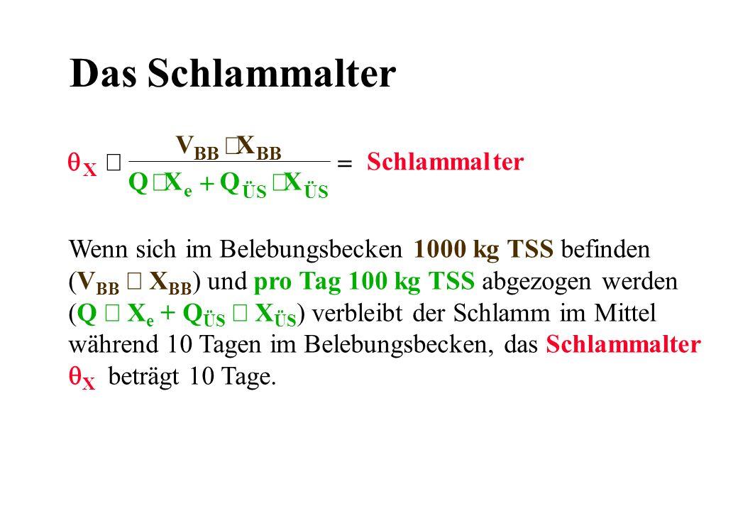 Das Schlammalter Wenn sich im Belebungsbecken 1000 kg TSS befinden (V BB X BB ) und pro Tag 100 kg TSS abgezogen werden (Q X e + Q ÜS X ÜS ) verbleibt