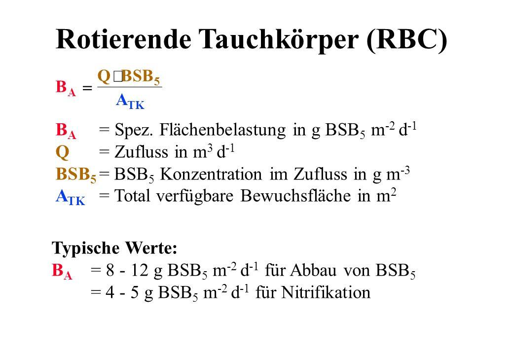 Rotierende Tauchkörper (RBC) B A = Spez. Flächenbelastung in g BSB 5 m -2 d -1 Q = Zufluss in m 3 d -1 BSB 5 = BSB 5 Konzentration im Zufluss in g m -