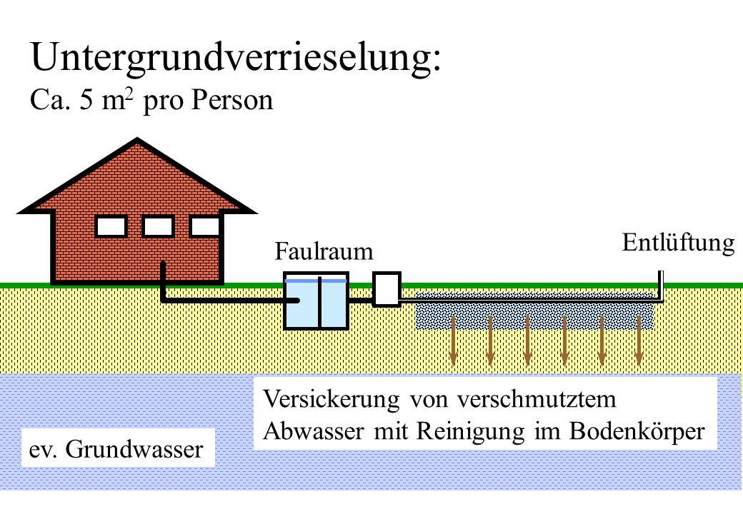 Untergrundverrieselung: Ca. 5 m 2 pro Person Entlüftung Faulraum Versickerung von verschmutztem Abwasser mit Reinigung im Bodenkörper ev. Grundwasser