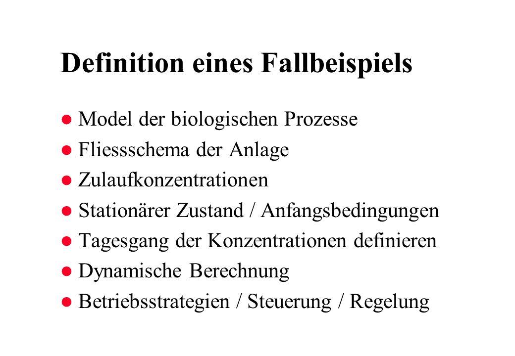 Definition eines Fallbeispiels l Model der biologischen Prozesse l Fliessschema der Anlage l Zulaufkonzentrationen l Stationärer Zustand / Anfangsbedi