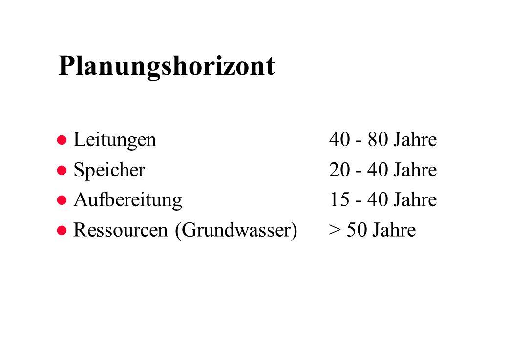 Planungshorizont l Leitungen40 - 80 Jahre l Speicher20 - 40 Jahre l Aufbereitung15 - 40 Jahre l Ressourcen (Grundwasser) > 50 Jahre