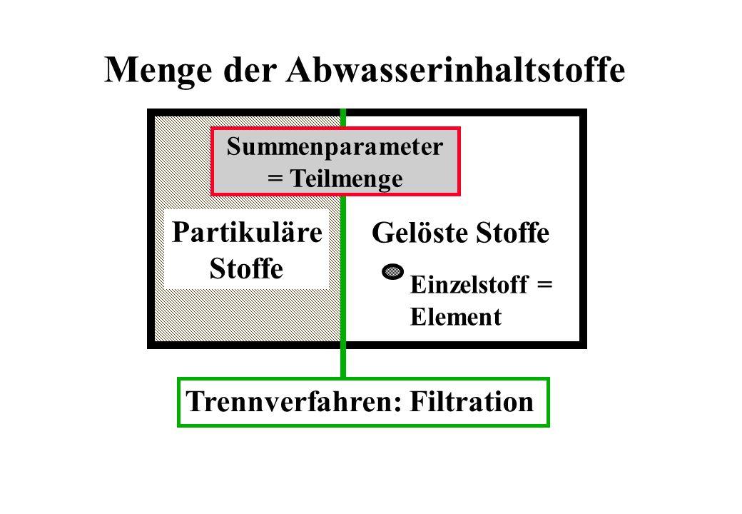 Menge der Abwasserinhaltstoffe Gelöste Stoffe Einzelstoff = Element Summenparameter = Teilmenge Trennverfahren: Filtration Partikuläre Stoffe