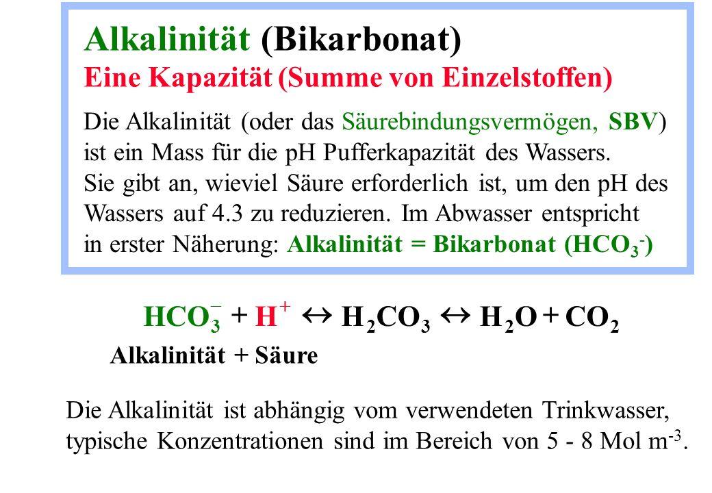 Alkalinität (Bikarbonat) Eine Kapazität (Summe von Einzelstoffen) Die Alkalinität (oder das Säurebindungsvermögen, SBV) ist ein Mass für die pH Puffer