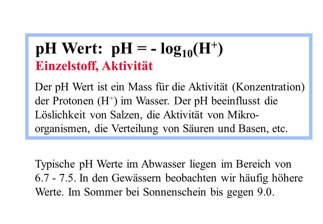 pH Wert: pH = - log 10 (H + ) Einzelstoff, Aktivität Der pH Wert ist ein Mass für die Aktivität (Konzentration) der Protonen (H + ) im Wasser. Der pH