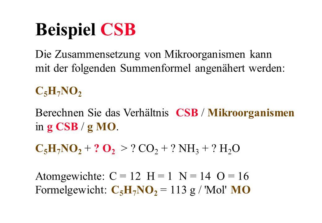 Beispiel CSB Die Zusammensetzung von Mikroorganismen kann mit der folgenden Summenformel angenähert werden: C 5 H 7 NO 2 Berechnen Sie das Verhältnis